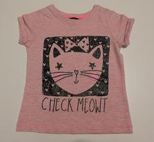 Bavlněné tričko s kočičkou třpytivé kr. r., george,110
