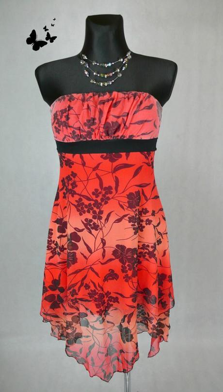Jane norman asymetrické červené šaty vel 38, 38