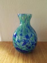 Skleněná váza modrá vázička,