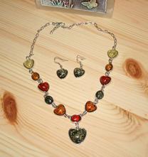 Set náhrdelník a náušnice srdíčka,
