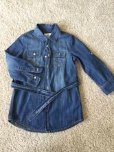 Riflová džínová košile blůzka s dlouhým rukávem, h&m,110