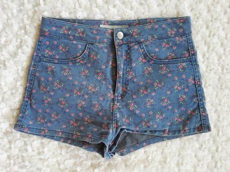 Šortky květované riflové kraťasy džínové, xs
