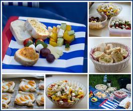 Premiéra pikniku v parku (caprese jednohubky, sýr + hrozno + ořechy, řecký salát, bylinkové bagetky, listové šátečky s tvarohem a meruňkami, k pití chlazený hruškový džus, voda, cider, ovocná piva)