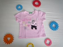 Růžové tričko s králíčkem benetton, benetton,74