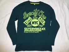 Nádherné lahvově zelené tričko s limetkovým nápise, c&a,158 / 164