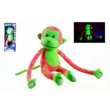 Opice svítící ve tmě plyš 45x14cm růžová/zelená,