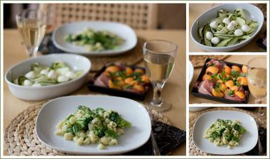 Brokolicové těstoviny, cuketový salát, melounový salát