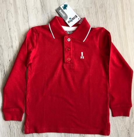 Červené bavlněné tričko s límečkem kidkind, 3 roky, prénatal,104