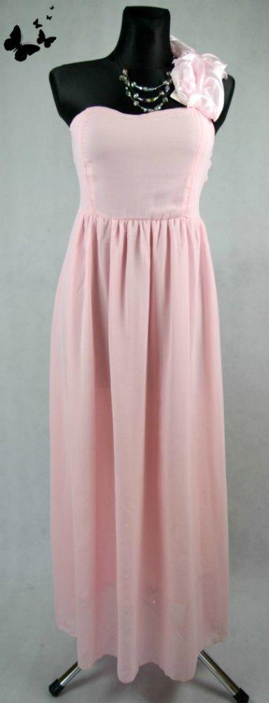 ca83131305e Dlouhé růžové společenské šaty vel 40