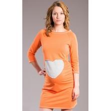 Těhotenské šaty, tunika srdce - oranž, pomeranč, l - xxxl