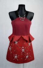 Červené šaty na ramínka vel 38, 38