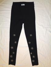 Luxusní černé džegíny - stříbrné hvězdy, h&m,152