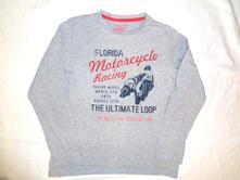 Super šedé bavlněné tričko pro motorkáře 134/140, tcm,134