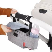 Organizér taška na kočárek s klopou - šedý,