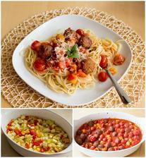 Těstoviny s pečeným ratatouille a masovými kuličkami