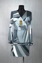 Šedo-černé zavinovací šaty vel 42-44, 44