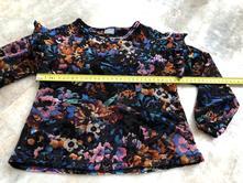 Next sametové elastické triko květy volán 110cm, next,110