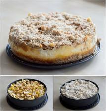 Drobenkový koláč s vločkami a jablky