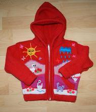 Zářivě červený zvířátkový svetr, 86