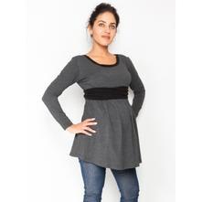 Těhotenská tunika s páskem, dlouhý rukáv amina, l / m / s / xl / xs