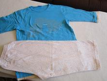 Pěkné bílomodré bavl. dívčí letní pyžamo, vel. 134, 134