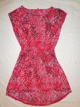 Krásné červenorůžové tygrované šaty, 134