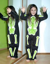 Karnevalový svítící kostým kostlivec, na halloween,