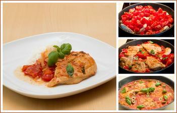 Kuřecí prsa s rajčatovo-olivovou omáčkou, rýže