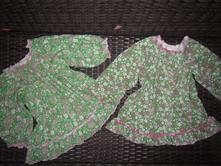 2x zelené květované  tuničky, šatičky, lindex, 80, 80