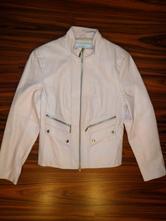 Luxusní světle růžová kožená delší bunda, tcm,m