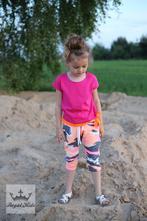Dívčí růžové tričko s oranžovou mašlí, 92 - 152