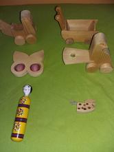 Sada dřevěných hraček,