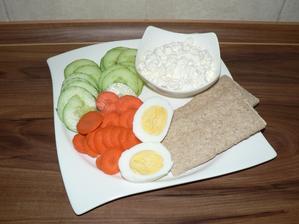 VEČEŘE: cottage, vajíčko, zelenina, knekebrot