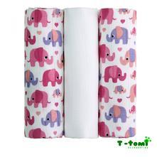 Bio bambusové pleny, pink elephants / růžoví sloni, t-tomi