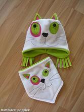 Fleecová čepička kočička+šátek na přání, 80 - 116