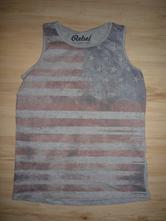 Šedé triko s americkou vlajkou, rebel,152