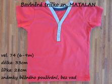 Bavlněné tričko zn. matalan, matalan,74
