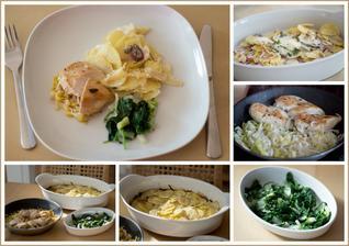 Hořčičné kuře, brambory dauphinoise, zelenina - Jamie Oliver
