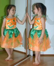 Karnevalové oranžovo-zelené šaty kostým halloween,
