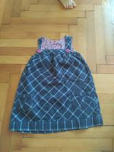 Kostkované šaty s kapsami s laclem, 98