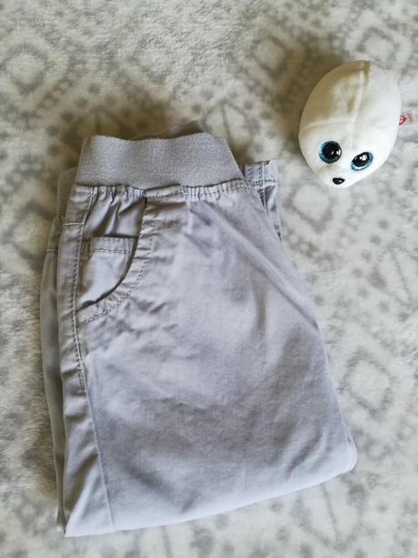 Bavlněné plátěné světle šedé kalhoty, next,80
