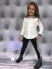 Bílá dívčí košile s leopardím vzorem, 122 - 164