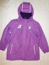 Luxusní fialový nepromokavý kabát s kočičkou, 128