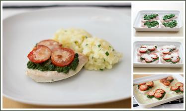 Zapečené krůtí plátky se špenátem, rajčaty a parmazánem, pažitkové brambory