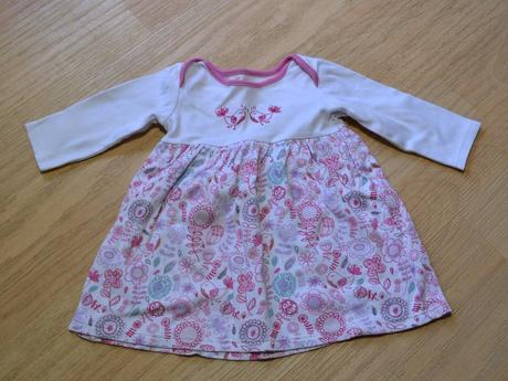 Šaty s dl. rukávem, kytičky, ptáčci , marks & spencer,68