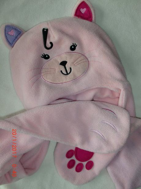 Fleece čepice s šálou kočička , george,110