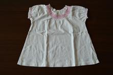 Bílé tričko/tunička s růžovým lemováním, h&m,86
