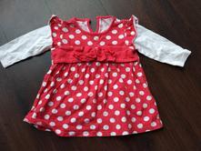 Červená tunika tričko dlouhý rukáv šaty 68, 74, 80, next,68