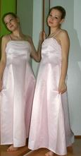 Dlouhé společenské plesové růžové šaty, 38