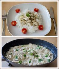Kuře s cidrem a hořčicí, rýže